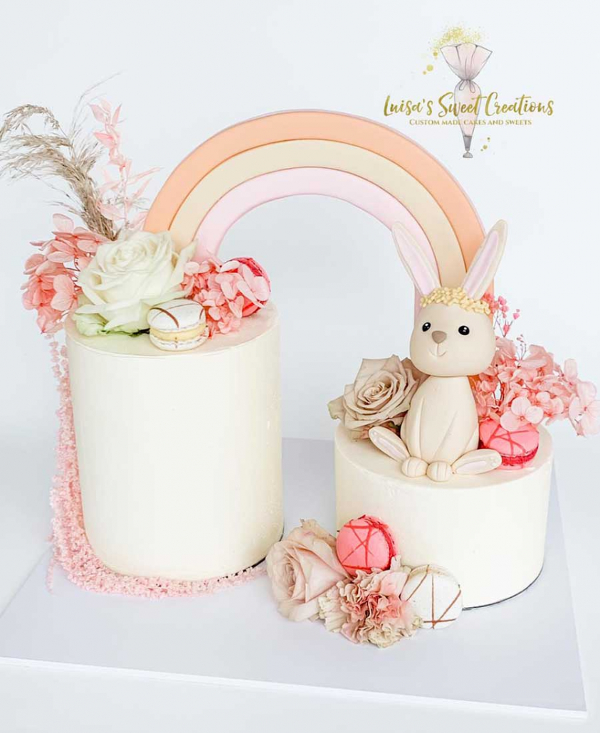 baby shower cake with bunny and rainbow Brisbane by Luisas Sweet Creations