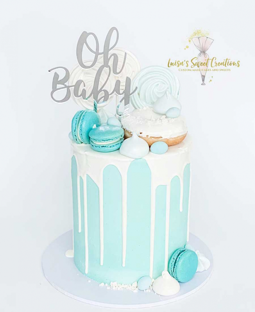 Bluebaby shower cake with macaroons Brisbane by Luisas Sweet Creations