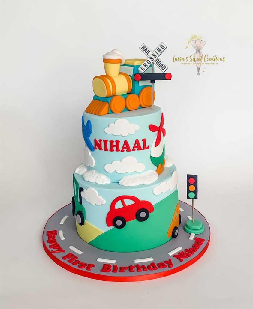 Cars and trainsfirst birthday cake Brisbane by Luisas Sweet Creations
