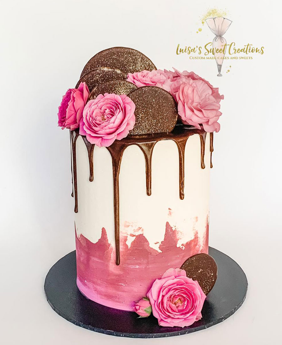 Chocolate and roses themed birthday cakeby Luisas Sweet Creations Brisbane