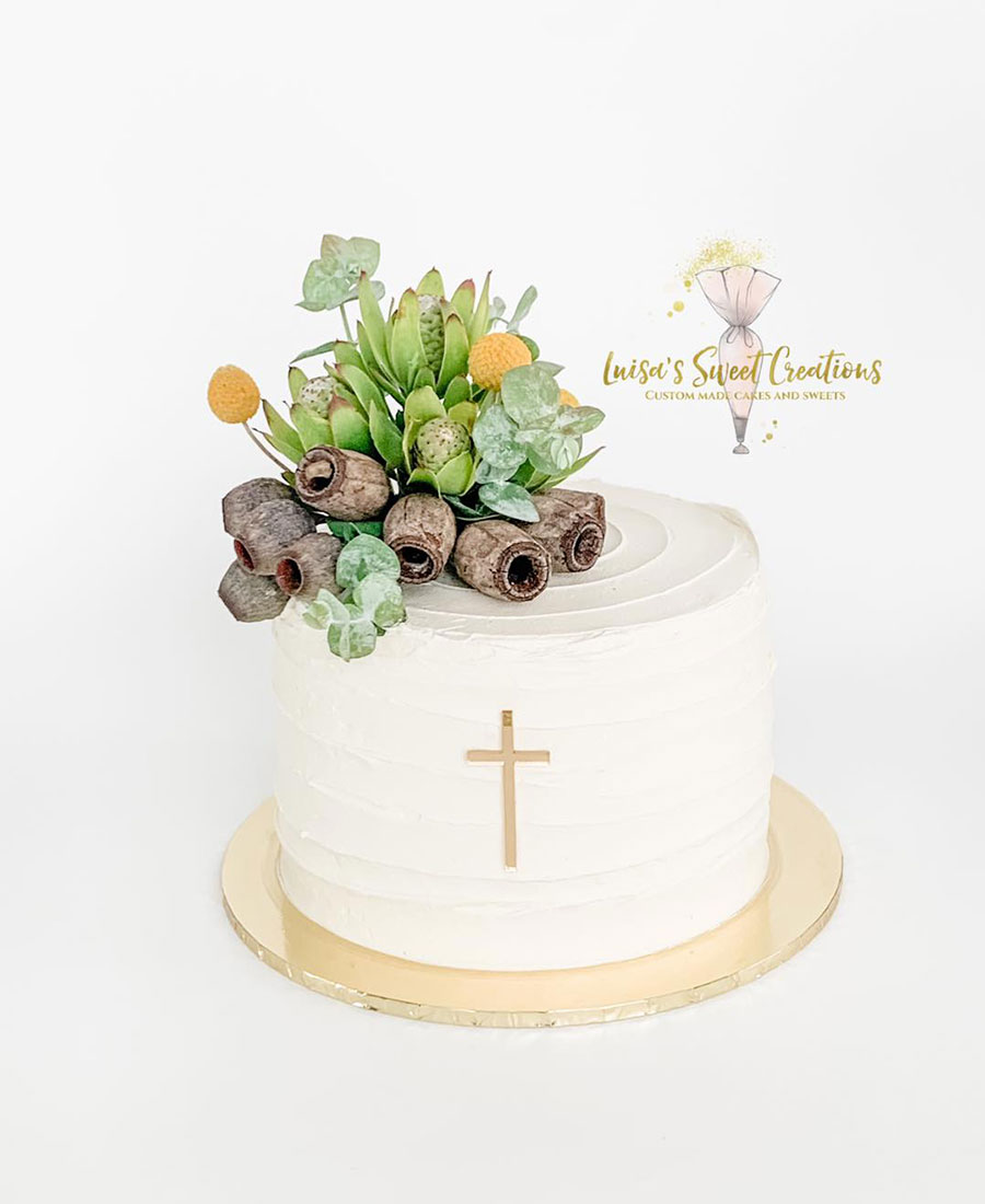 Christening cake Brisbane with native flowers by Luisas Sweet Creations