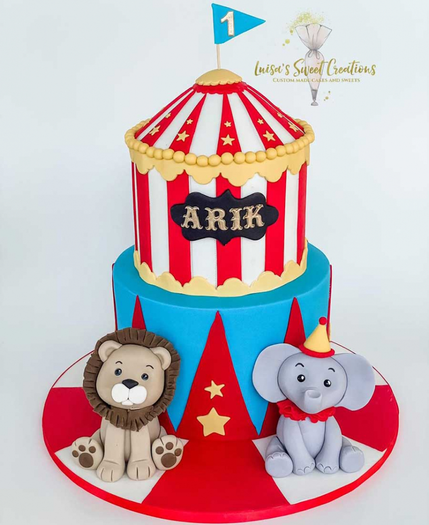Circus themedfirst birthday cake Brisbane by Luisas Sweet Creations