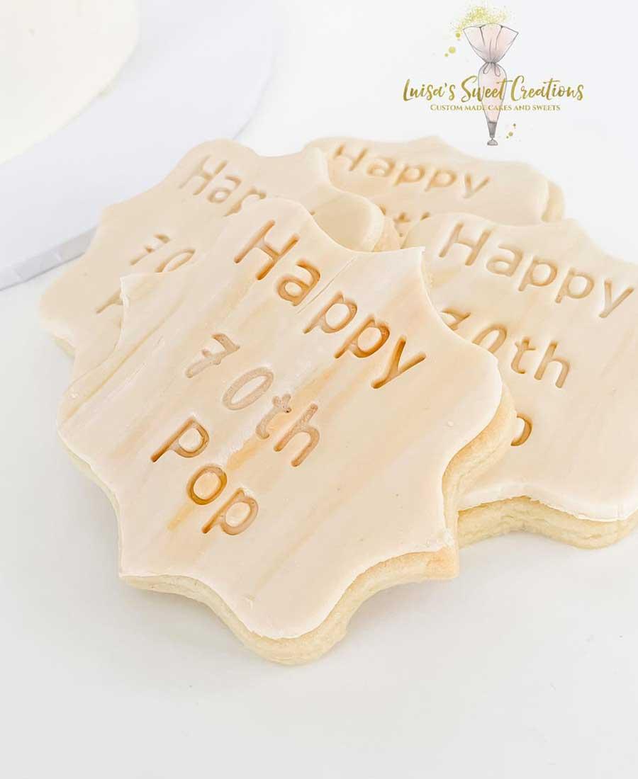 Custom made sugar cookies for 70th birthday Brisbane by Luisas Sweet Creations