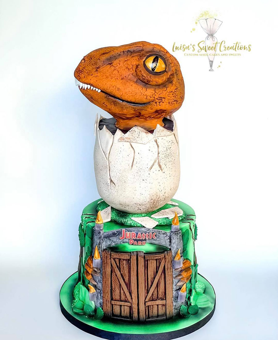 Jurassic Park Dinosaur cake custom made byby Luisa's Sweet Creations Brisbane