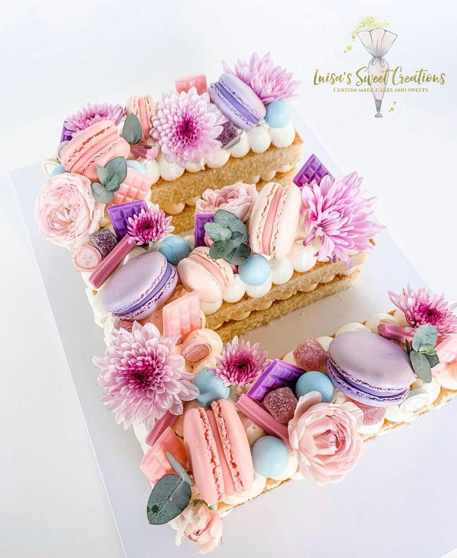 Letter E Cake custom madeby Luisa's Sweet Creations Brisbane