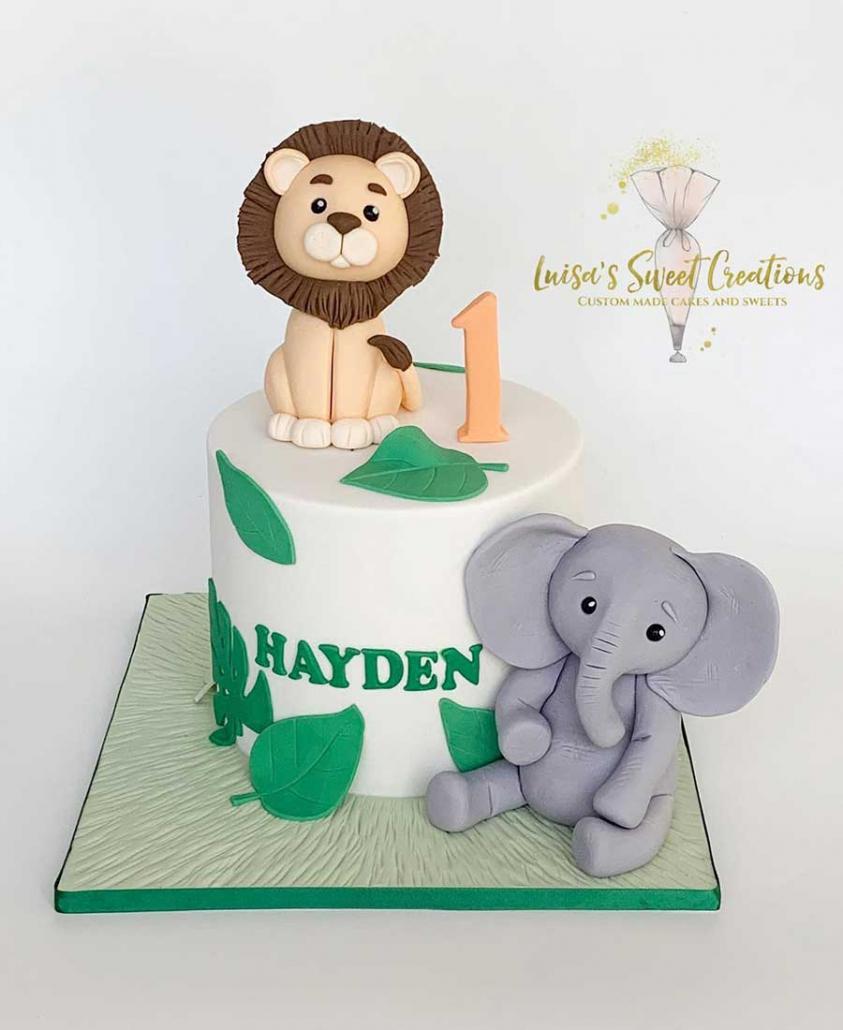 Lion and Elephantfirst birthday cake Brisbane by Luisas Sweet Creations