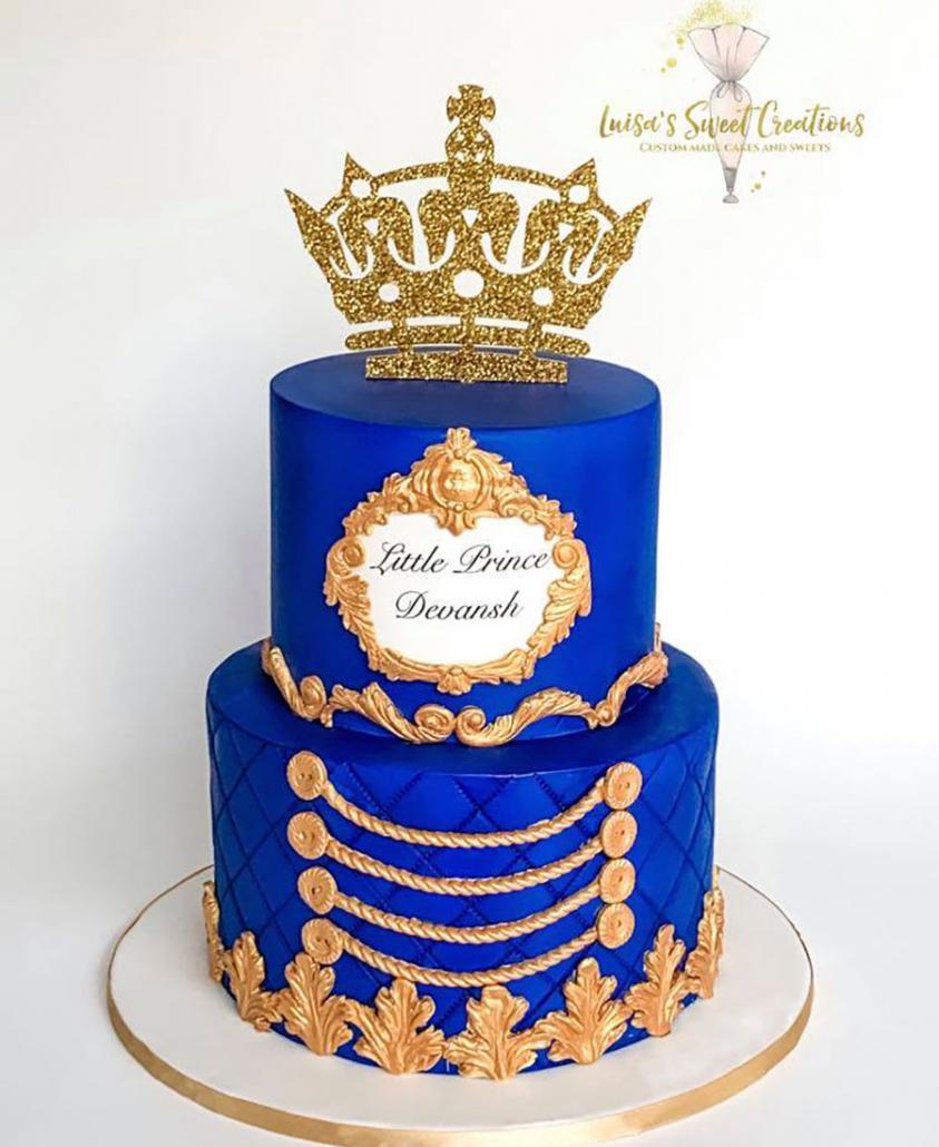 Little prince first birthday cake Brisbaneby Luisas Sweet Creations