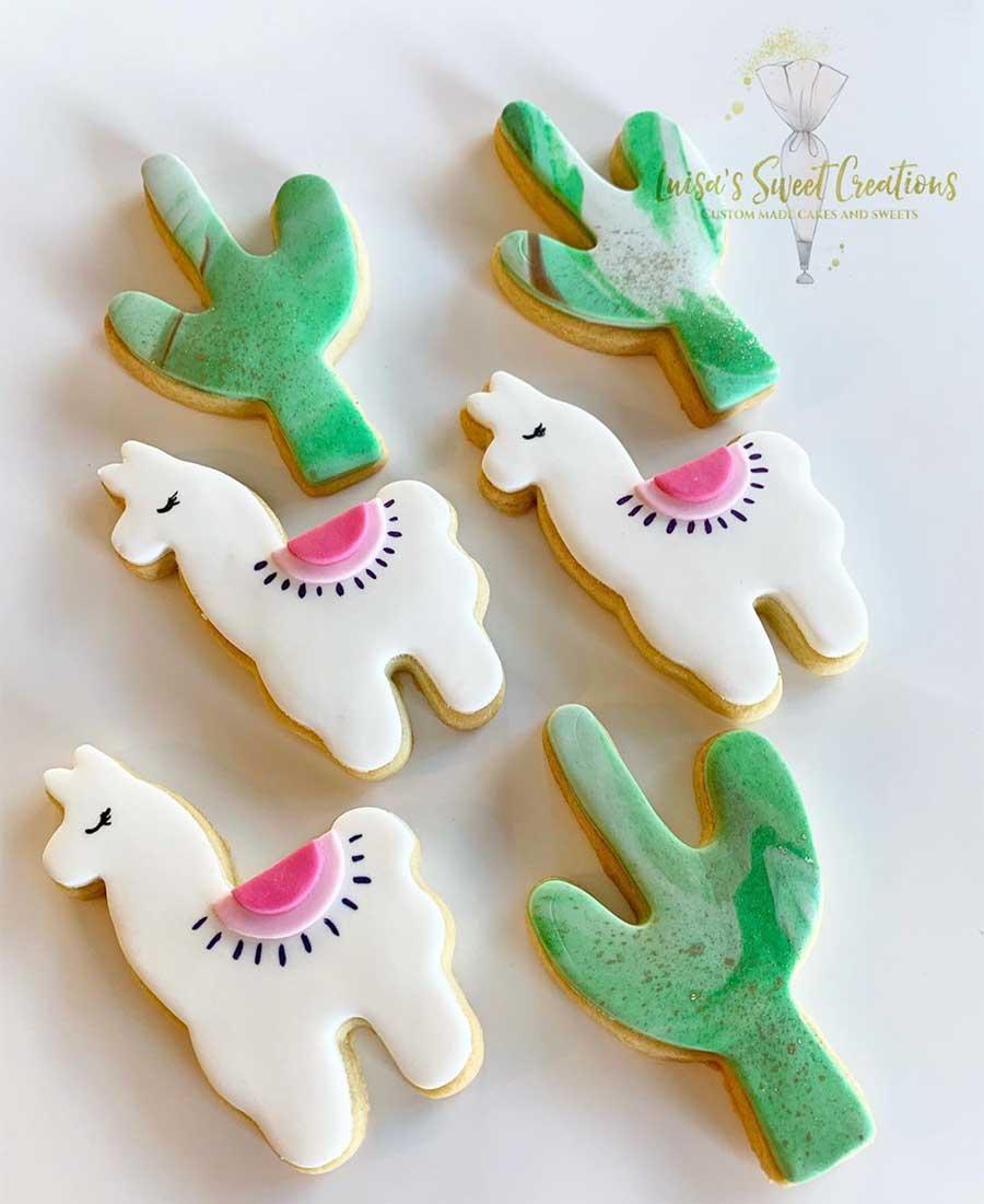 Llama cookies with cactus cookies by Luisas Sweet Creations Brisbane