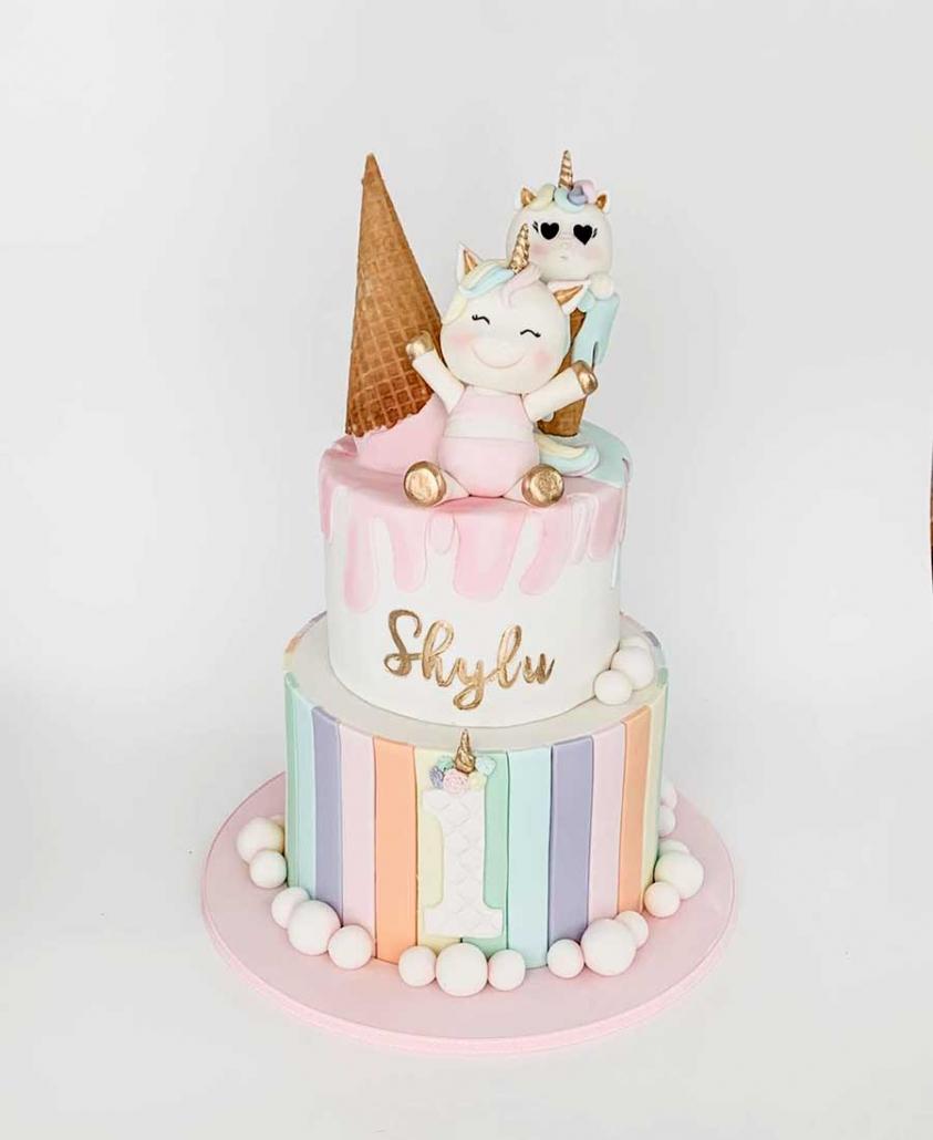 Unicorn and ice creamfirst birthday cake Brisbane by Luisas Sweet Creations