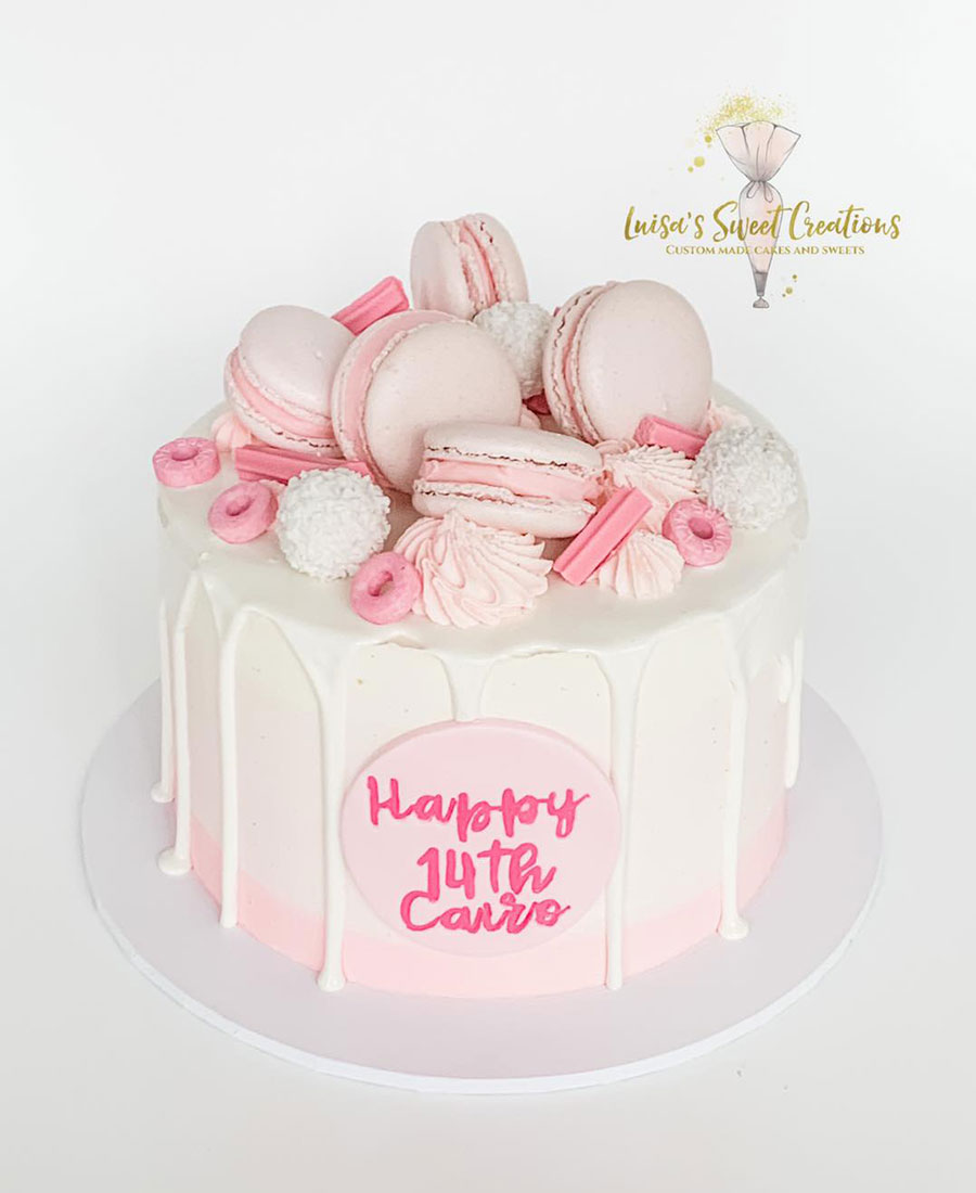 White and Pink macaroon cakeBrisbane by Luisa's Sweet Creations Moggill