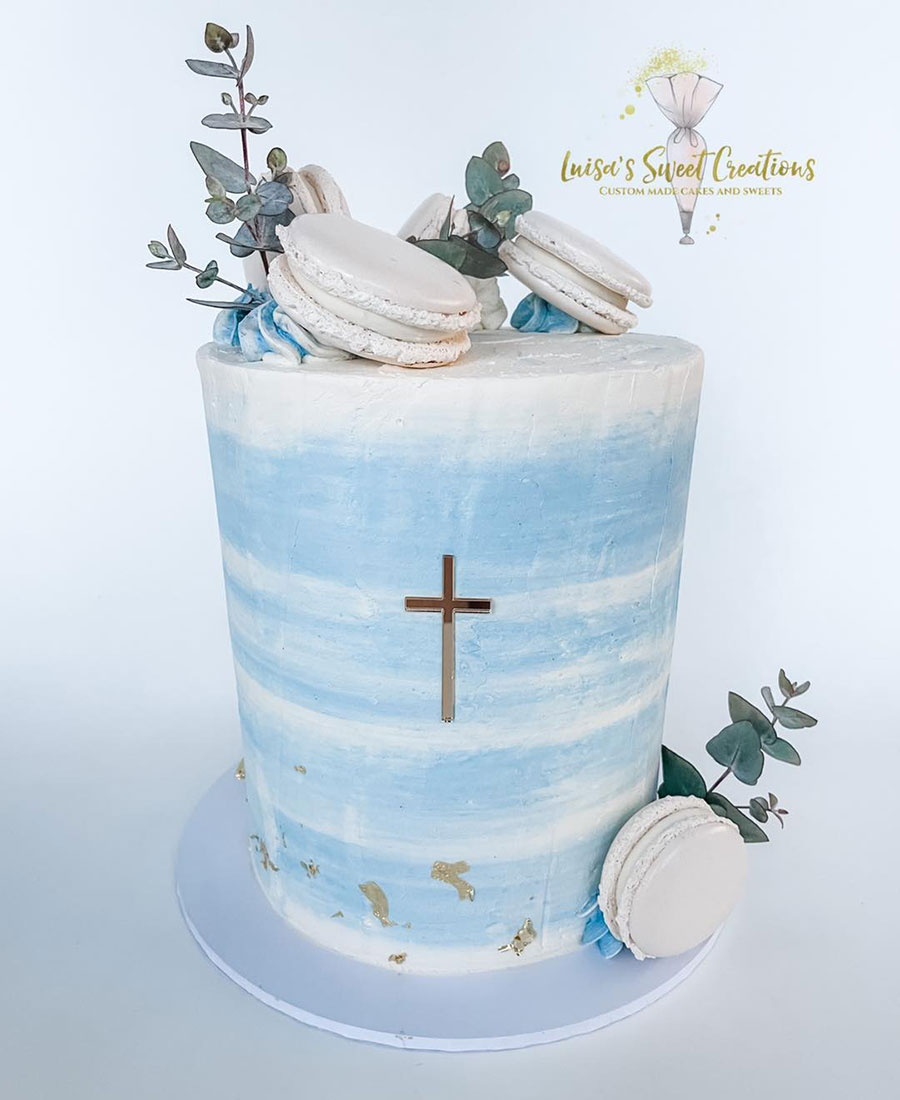 Blue baptism cake for christening by Luisa Nodari