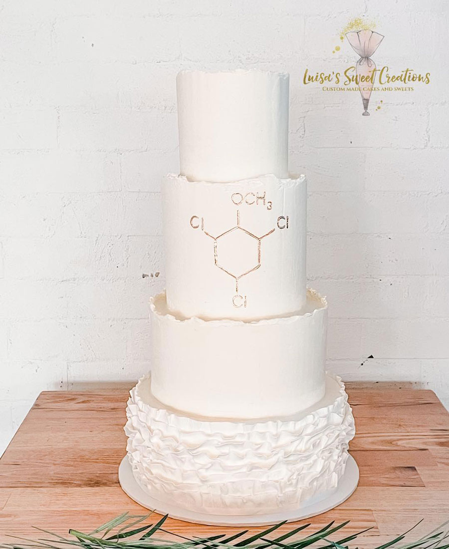 White textured wedding cake with four tiers by Luisa's Sweet Creations Moggill