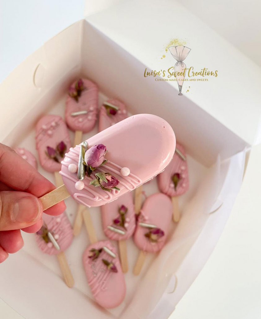 Pink Cake Popsicles by Luisa's Sweet Creations Brisbane